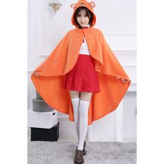 Orange Cloak School Girl Costume ($52) ❤ liked on Polyvore featuring costumes, orange halloween costume, schoolgirl costume, orange costume, school girl and red costume