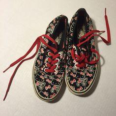 Hello Kitty Vans Shoe Sneakers Adorable red and black and white Hello Kitty Vans. Has some wear on white rubber. Fairly clean shoe bottom. See pics. Size 5.5 women. Vans Shoes Sneakers
