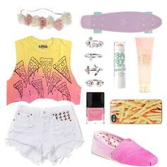 √ Yellow Pink Ombrè Crop Top √ White Studded High Waist Shorts √ Floral Head Band √ Fries IPhone Casing √ Pastel Purple / Lilac Penny Board # Penny Board Outfit