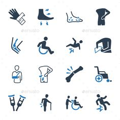 Bone Fracture Icons ¨C Blue Version  The pack contains :   16 Bone Fracture Icons   Fully editable EPS files   Easy to change co