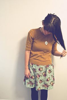 mustard sweater, floral skirt, tights