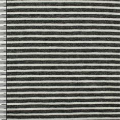 Charcoal and White Mini Stripe Cotton Spandex Knit Fabric