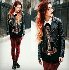 grunge fashion alternative fashion style love this red leggings creepers awesome