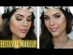 Todays makeup tutorial is inspired by coachella coming up! Its very quick and easy to do and involves face paint! It has brown eye shadow on my hooded eyes, . Music Festival Makeup, Festival Makeup Glitter, Music Festivals, Linda Hallberg, Protein Snacks, Boho Hippie, Bohemian, Rave Halloween, Edm