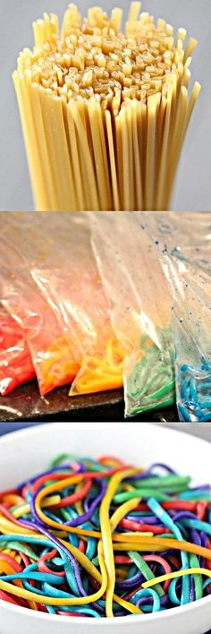 Make Rainbow Pasta. Kids will love this!!