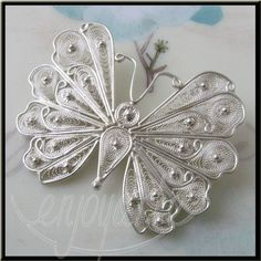 Enjoyarte.com - Silver Filigree Jewelry Butterfly Brooch - Handmade Silver Filigree Jewelry