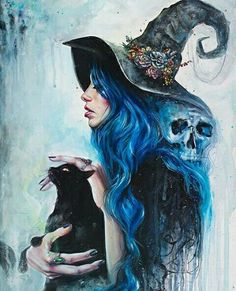 Blue-haired witch with a black cat resting in her arms. Death hovered her shoulder.