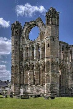 Elgin Cathedral, Scotland 1224 is a historic ruin in Elgin, Moray, north-east Scotland. The cathedral—dedicated to the Holy Trinity—was established in 1224 on land granted by King Alexander II outside the burgh of Elgin Beautiful Buildings, Beautiful Places, Beautiful Ruins, Beautiful Scenery, Beautiful Pictures, Cathedral Train, Places To Travel, Places To See, Temples