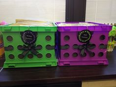 Math and writing portfolio crates. Added some cute ribbon and circle tags. Spices up normally boring crates. Elementary classroom decor!