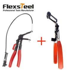 Auto Vehicle Car Repairs Tools 45 Degree Angle Bent Nose Hose Clamp Pliers  Cable Type Flexible Wire Long Reach Hose Clip Pliers