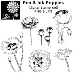 These hand drawin pen and ink sketches of poppies begged to be colored with markers or watercolors and added to a special card or scrapbook page. You get 6 original illustrations in PNG and JPG format. These are perfect to print and color or use to make rubber stamps.