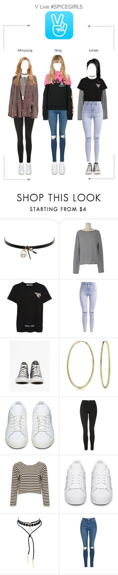 """V Live #SPICEGIRLS"" by spicegirls-official ❤ liked on Polyvore featuring Kenneth Jay Lane, Off-White, New Look, Converse, Bling Jewelry, adidas Originals, Topshop, Alice + Olivia and Palm Angels"