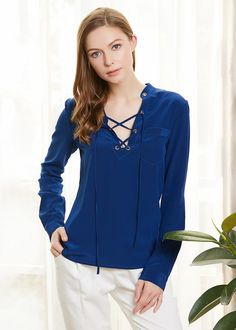 1af4bc2b074c01 18MM V Neck Lace Up Front Silk Blouse Hot Sale On Lilysilk Up Front