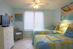 Bedroom two is furnished in a funky beach decor