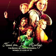 Hermione, Luna, Molly, Tonks, & McGonagall