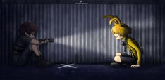 -stands behind the kid glaring at plush- Plush I'm going to tear you apart after this