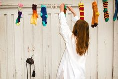 Happy Socks Available at http://www.frontrunner.nl/happy-socks/ #happy #socks #happysocks #clothesline #colored #color #white #summer #laundry