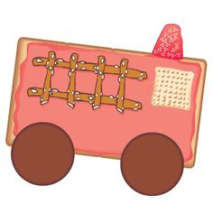 firetruck snack recipe: Use a plastic knife to spread red frosting on one graham cracker square. Add 2 Nilla wafer wheels. Add a Chex cereal window. Add a ladder made from pretzel sticks. Place a gum drop on top for the light.