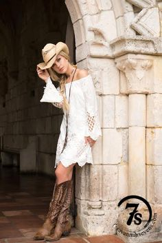 The Cynthia – white embroidered off the shoulder dress from Savannah Sevens Western Chic
