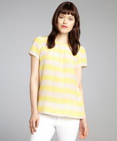 Pippa lemon and cream striped silk puff short sleeve blouse