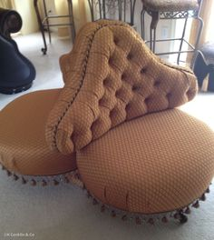 Reupholstered Tufted Cloverleaf Chair : gold, bronze, copper and beaded fringe!  Unusual chair.