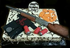 Hunting/clay shooting/shotgun birthday cake https://www.facebook.com/kellyqs.cakes