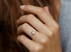 Feminine and elegant morganite ring. 14K rose gold diamond prong engagement ring with a natural oval brilliant cut morganite. IF YOU WANT A CUSTOM ring