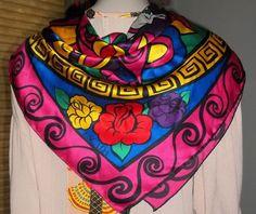 13b9b02e2882 Escada Silk Scarf Bright Primary Colors Roses Horses Drums 36 Inches   ESCADA  Scarf Primary