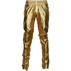 VIPARO Gold Metallic Lambskin Leather Slim Track Trousers Pants - Izzy ($365) ❤ liked on Polyvore featuring pants, gold, lined pants, lambskin pants, zipper pocket pants, zip pocket pants and elastic waistband pants