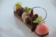 Fine dining - chocolate pie with aerated ganache, choc sorbet, lemon ...