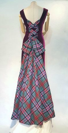 SCROLL TO BOTTOM/LAST PHOTO OF THE PAGE FOR COMPLETE INSTRUCTIONS ON HOW TO MEASURE Scottish Couture Tartan and Silk Velvet Ball Gown. The Lady Peacock. The front of this elegant dress has a princess