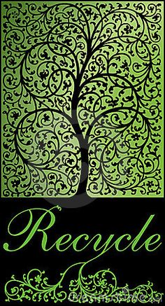 Elegant stylized tree in swirling plant form and roots going into the ground for an environmentally friendly recycling message