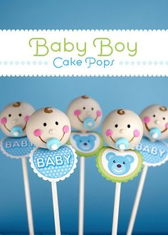Marshmallow pacifiers. Baby Boy Cake Pops by @Bakerella for @PickyPalate