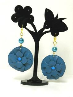 Florence Italy, Earrings Handmade, Light Blue, Etsy Shop, Metal, Gold, How To Make, Leather, Metals