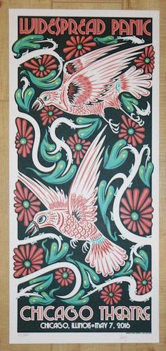 """Widespread Panic - silkscreen concert poster (click image for more detail) Artist: Jeff Wood Venue: Chicago Theatre Location: Chicago, IL Concert Date: 5/7/2016 Size: 10"""" x 22 1/4"""" Edition: 350; signe"""