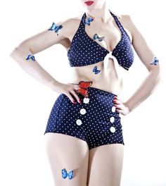 Rockabilly Dot Pin Up Swimsuit Vintage Retro Women Girl Ladies Swimwear Bikini Blue Sexy Bikini - Swimwear | RebelsMarket