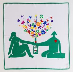 "1971 7Up UnCola 27""x27"" ""Matisse"" acetate scarf by Pat Dypold #7Upvintage"
