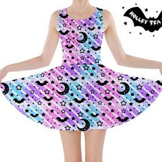 1949631379 Creepy Cute Stripes Skater Dress ☆ Made To Order ☆ Pastel Goth