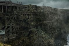 More awesome concept art from London-based artist Noro8, as a solitary crow guards the ruins of a post-apocalyptic cliff city standing empty above the sea.