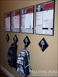 each kid gets their own organizer board (white board) with calendar and note area, hook for backpack beneath. Only thing I would change is use a double hook instead of a single hook so they can hang their coat along with the backpack.:: my parents should have done this