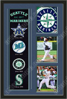 One framed Seattle Mariners heritage banner with three 8 x 10 inch Seattle Mariners photos of Felix Hernandez, double matted in team colors to 22 x 34 inches.  The lines show the bottom mat color.  $189.99 @ ArtandMore.com