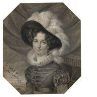 Ecole française du XIXe siècle  Portrait de la comtesse Valentin-Esterhazy Crayon noir, estompe et rehauts de gouache blanche,
