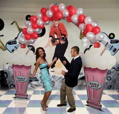 50's Sock Hop Decorations, paper milkshakes for sock hop dance ...