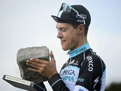 Niki Terpstra savoured his moment with one of the most famous trophies in cycling. 2014 Paris - Roubaix