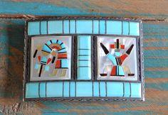 Vintage Zuni Sterling Silver Inlay belt buckle By Florentine And Lela Panteah
