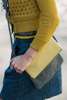Fold Over Clutch / Crossbody Bag / Wool Bag