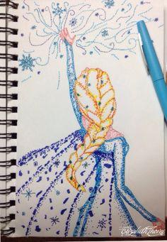 My marker dot drawing of elsa from disney's frozen
