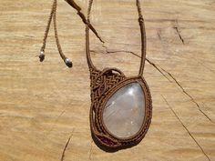 Macrame Necklace, Leaf Necklace, Gemstone Necklace, Quartz Necklace, Pendant Necklace, Textile Texture, Micro Macrame, Rutilated Quartz, Leaf Design