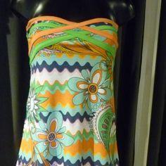 Tunica mini abito in cotone fantasia stile spagnolo