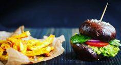 portobello burger, celerové hranolky, veganské